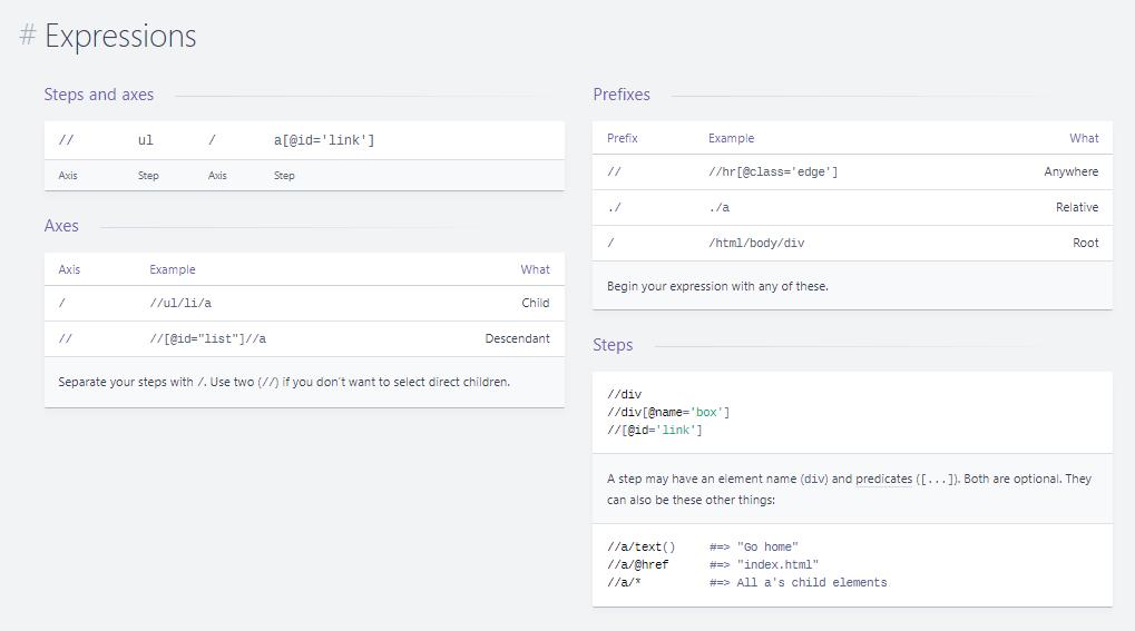 Xpath - lokalizowanie elementów - Expressions