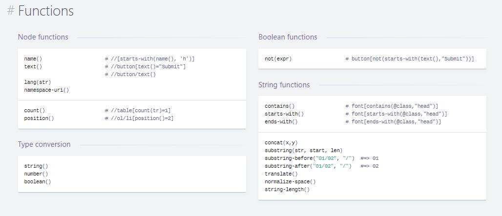 Xpath - lokalizowanie elementów - Functions