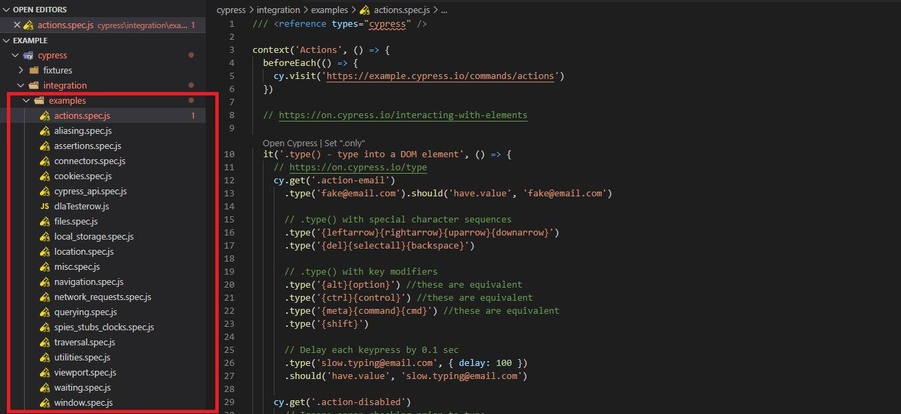 Cypress.io pierwszy test automatyczny - przykłady
