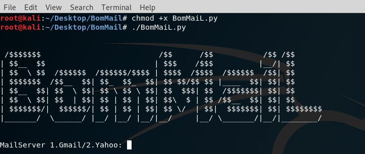 BomMail testowanie poczty spamem - welcome window