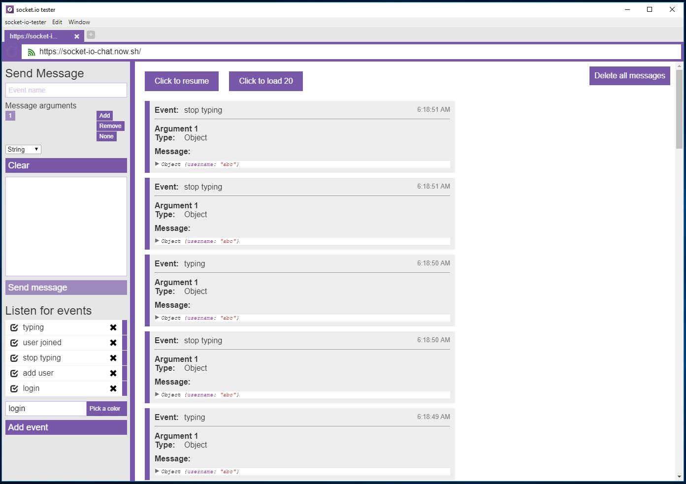 Testowanie websocketów z Socket-io-tester - okno główne