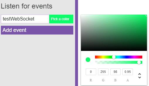 Testowanie websocketów z Socket-io-tester - kolory