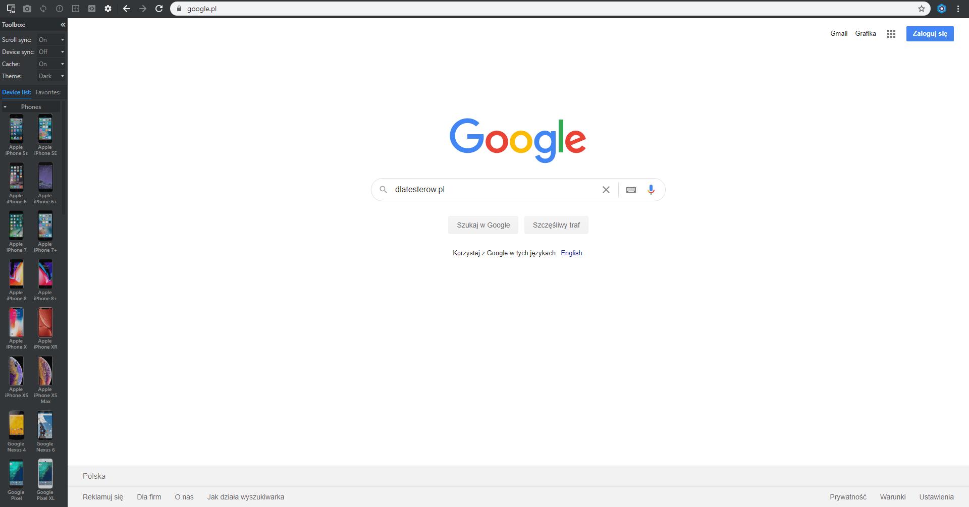 Blisk.io testowanie responsywności stron - browser
